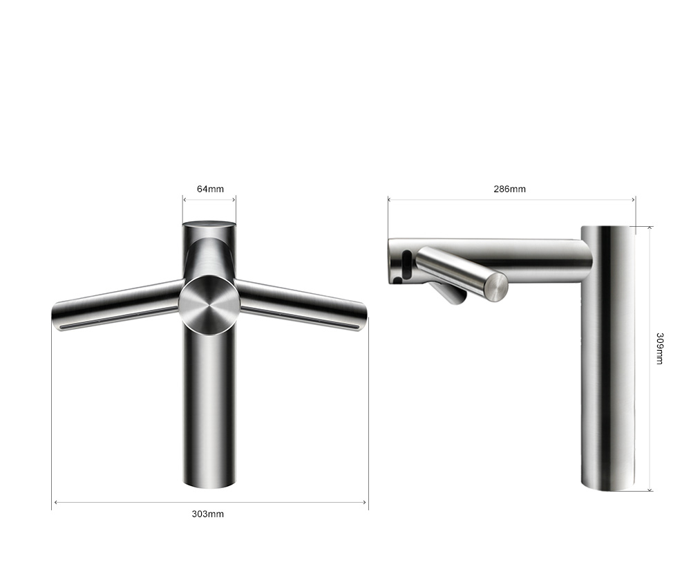 Dimensions of the Dyson Airblade Tap Long hand dryer