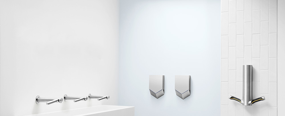 Dyson Airblade hand dryers in a washroom