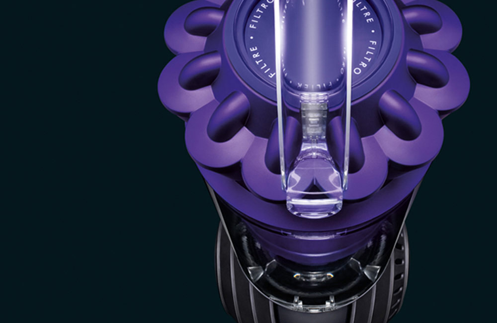 Close up view of an Upright Dyson Vacuum Cleaner